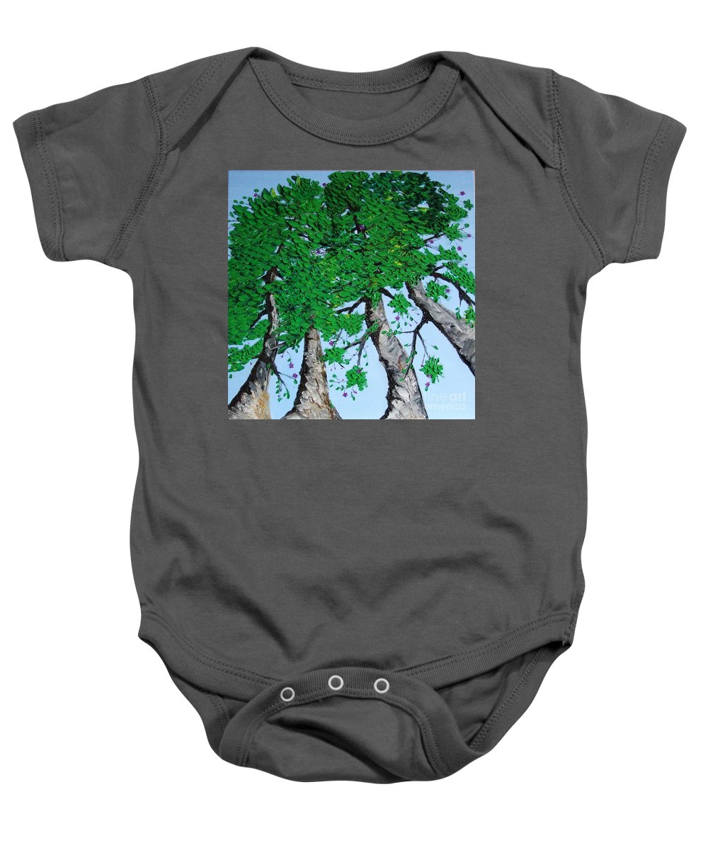 Landscape Baby Onesie featuring the painting Family Trees by Alfie Borg