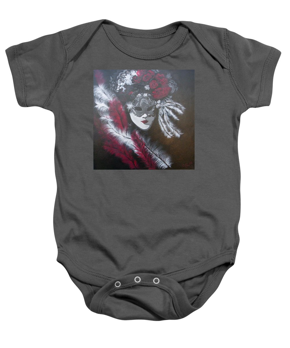 Gallery Wrap Canvas Baby Onesie featuring the painting Feathered Rose by Julie Cranfill
