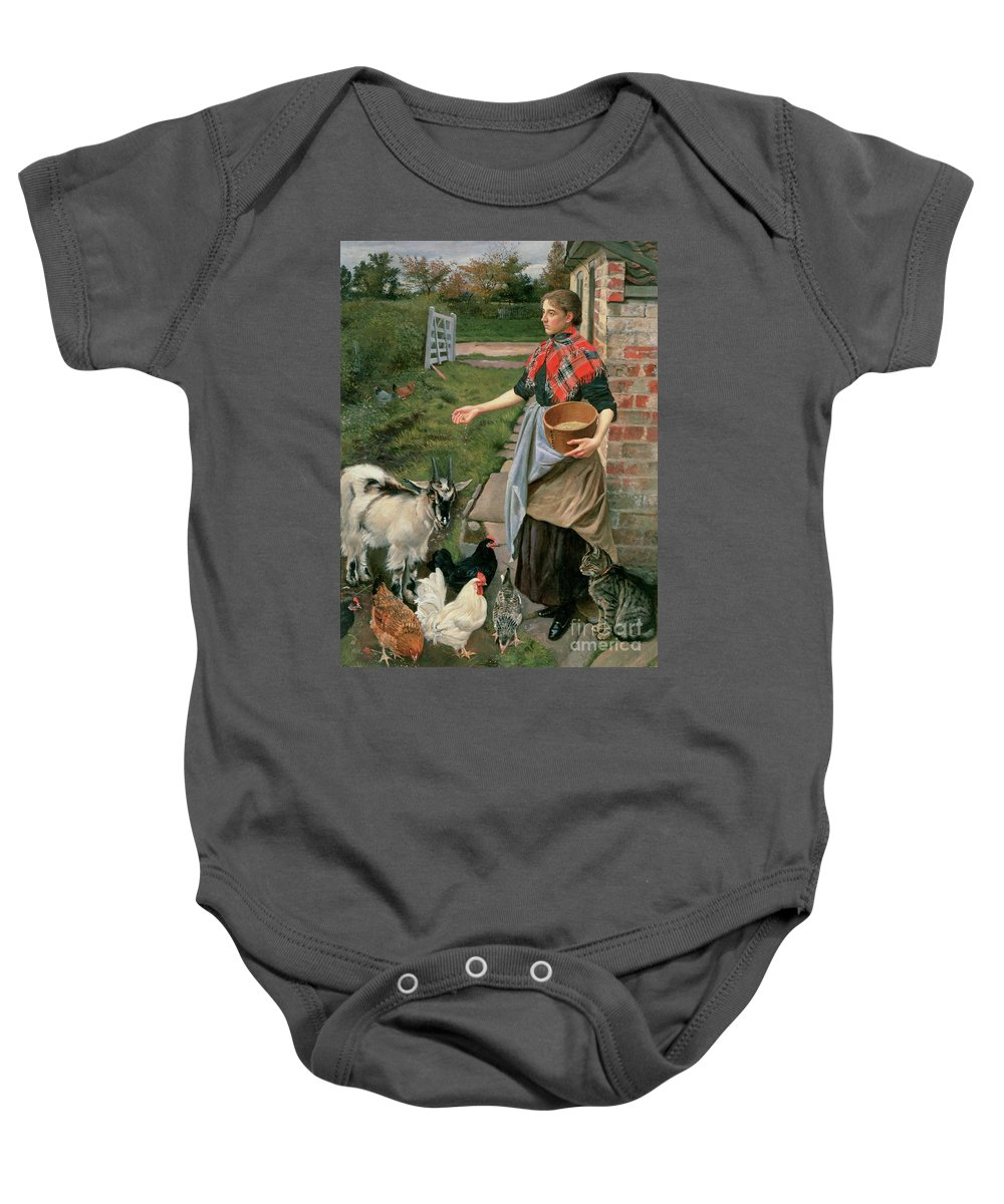 Farm; Chicken; Fowl; Kid; Goat; Cat; Grain; Tartan Scarf; Female; Girl; Farmer; Feed; Cockerel; Tabby; Agricultural; Worker Baby Onesie featuring the painting Feeding The Chickens by William Edward Millner