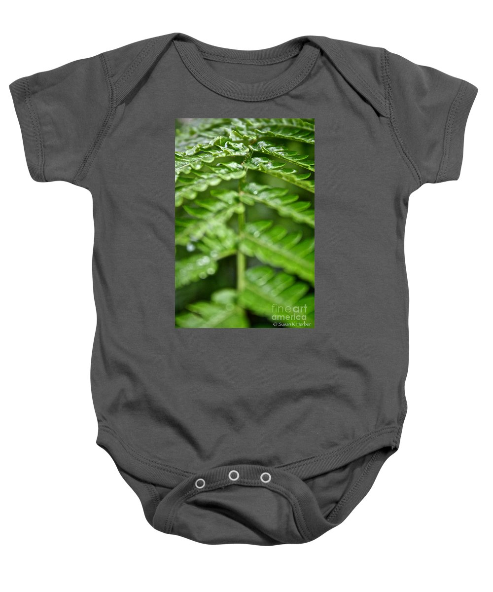 Tropical Plant Baby Onesie featuring the photograph Fern by Susan Herber