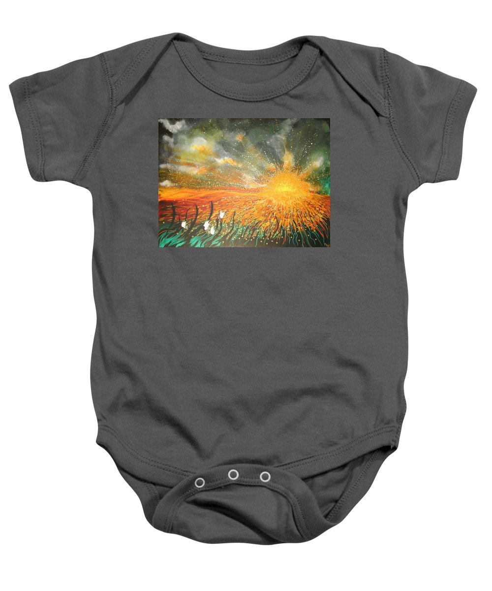 Sun Baby Onesie featuring the painting Field Of Gold by Naomi Walker