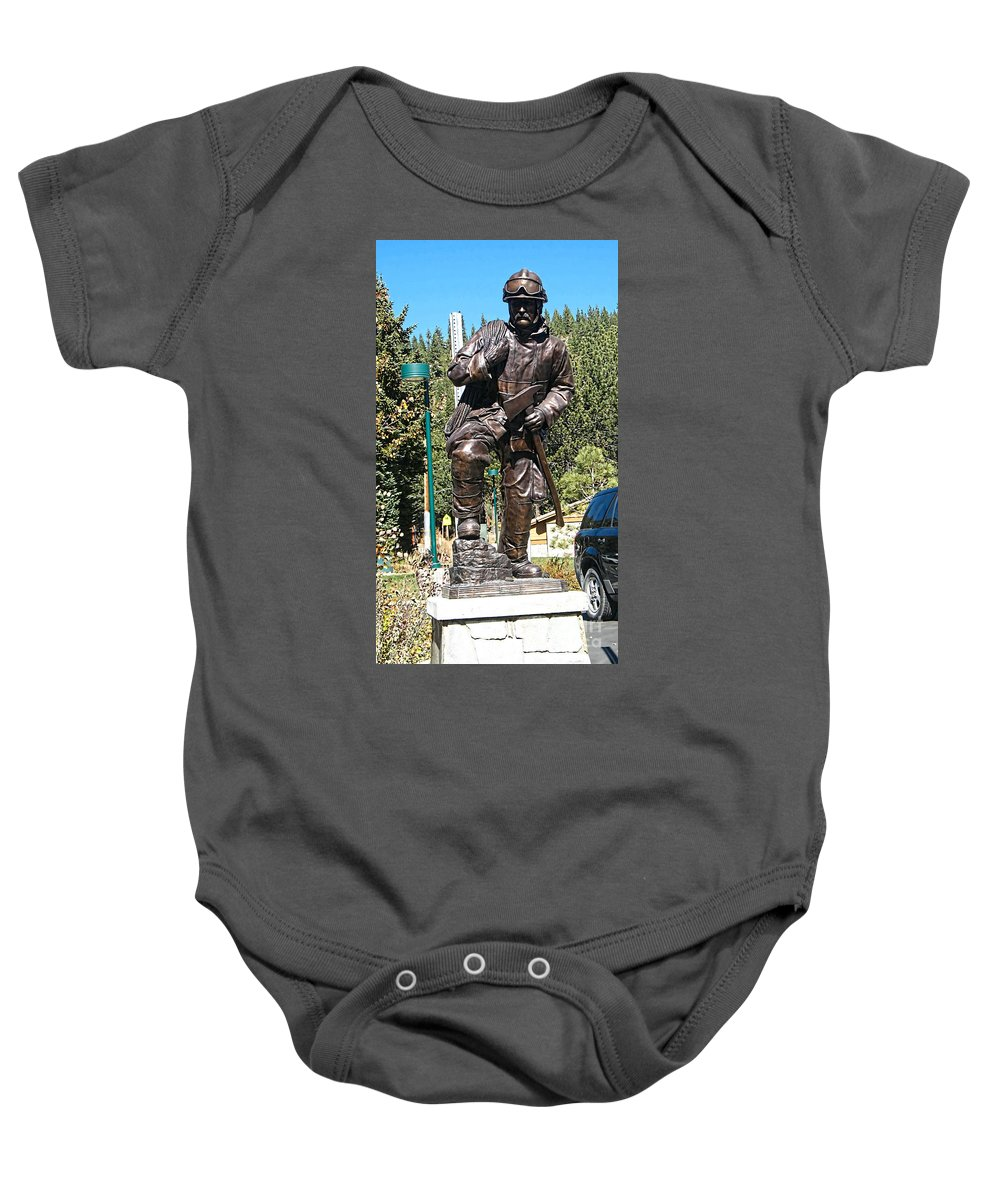 Mammoth Lakes Fire Department Baby Onesie featuring the photograph Firefighter Tribute by Tommy Anderson