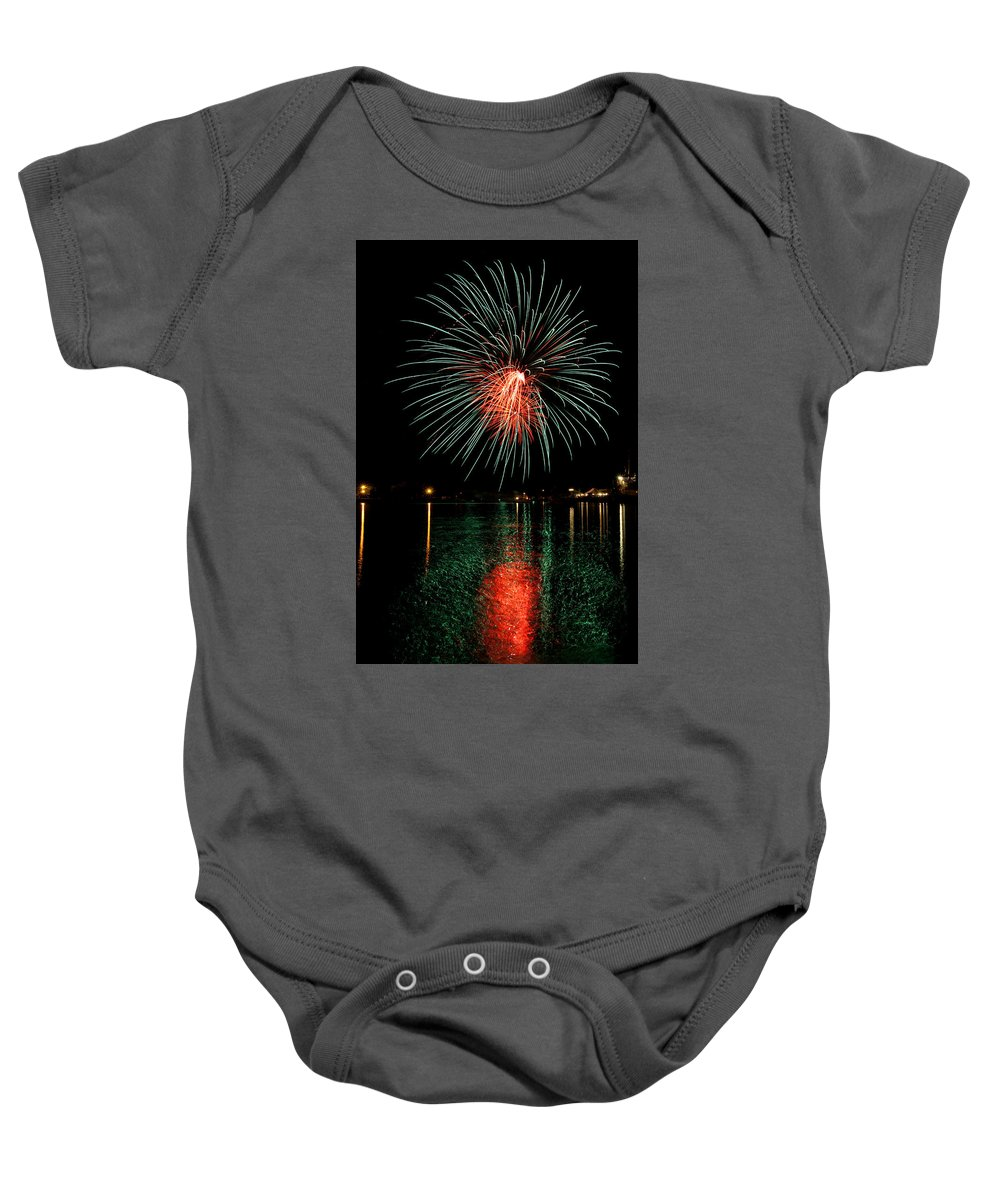 Bill Pevlor Baby Onesie featuring the photograph Fireworks Of Green And Red by Bill Pevlor