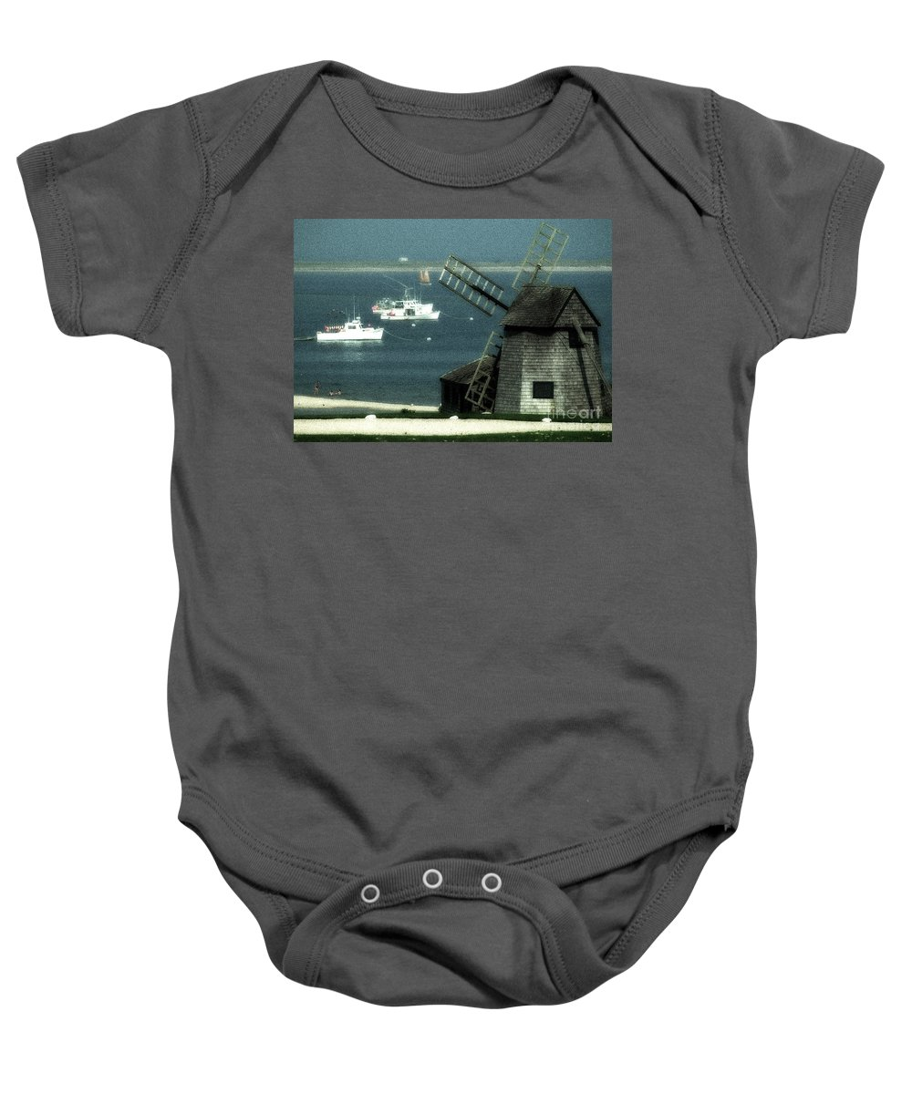 Fishing Boats Baby Onesie featuring the photograph Fishing Boats And Windmill In Chatham On Cape Cod Massachusetts by Matt Suess