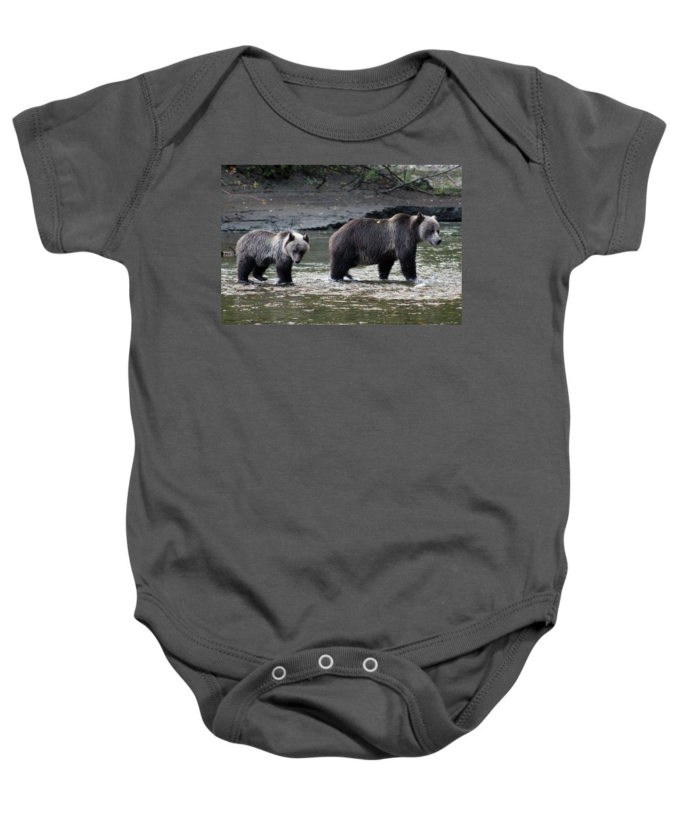 Grizzly Baby Onesie featuring the photograph Fishing Lessons by Cathie Douglas