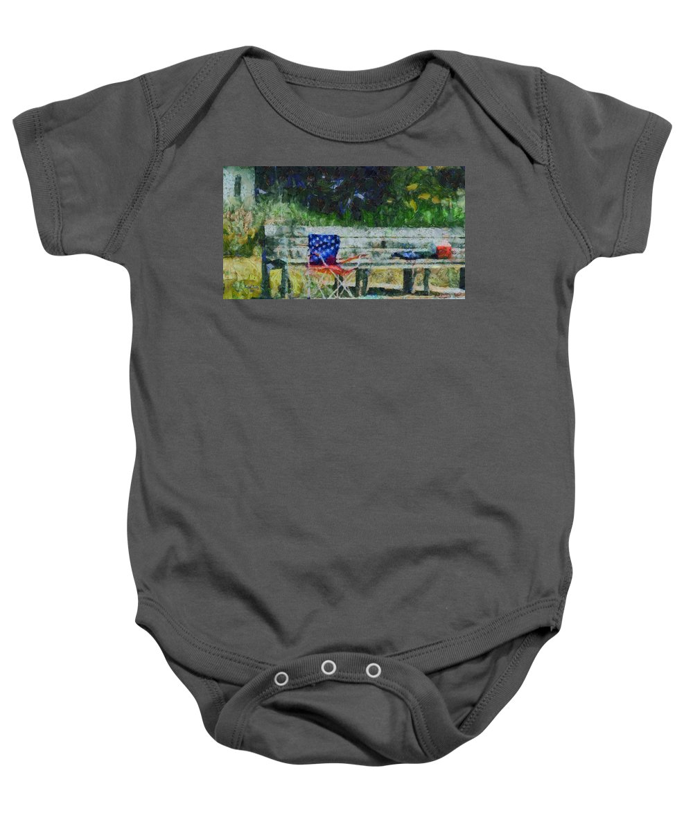 Memorial Day Baby Onesie featuring the photograph Fishing On Memorial Day by Trish Tritz