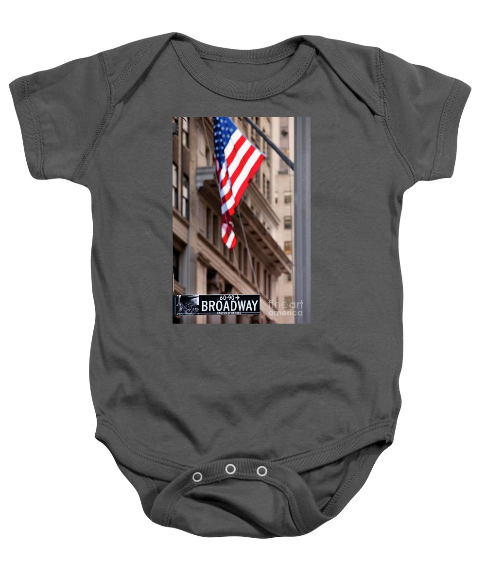 Broadway Baby Onesie featuring the photograph Flag On Broadway by Brian Jannsen