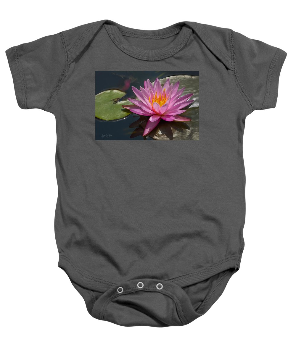 Floral Baby Onesie featuring the photograph Flaming Waterlily by Maggie Magee Molino