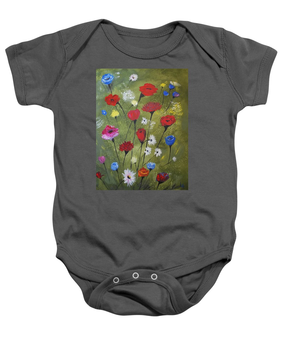 Poppy Painting Baby Onesie featuring the painting Floral Fields by Leslie Allen