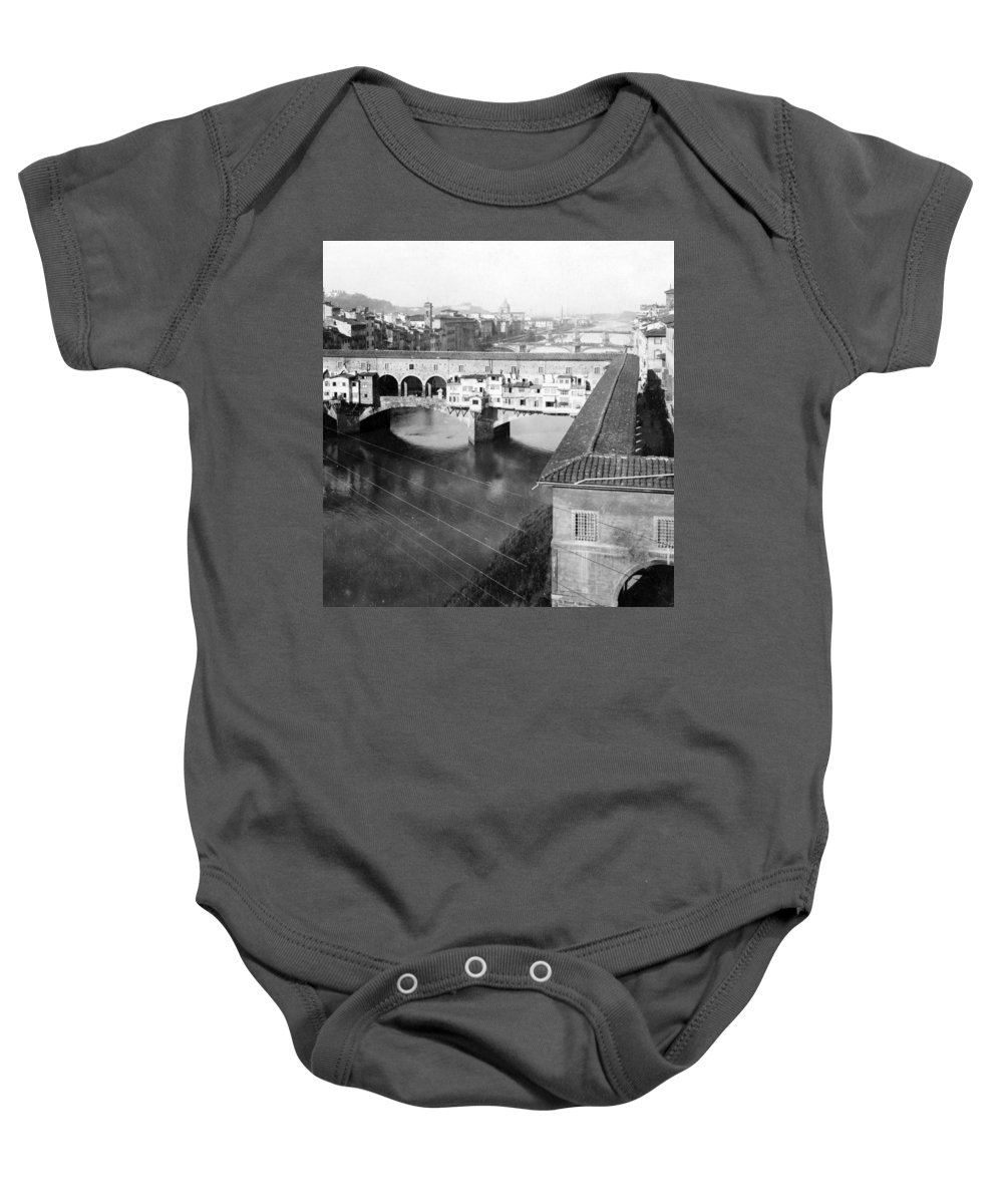 Florence Baby Onesie featuring the photograph Florence Italy - Vecchio Bridge And River Arno by International Images