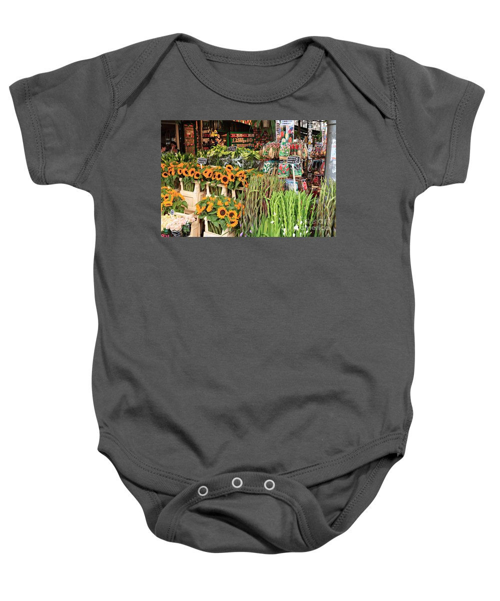 Sunflowers Baby Onesie featuring the photograph Flower Shop In Amsterdam by Louise Heusinkveld