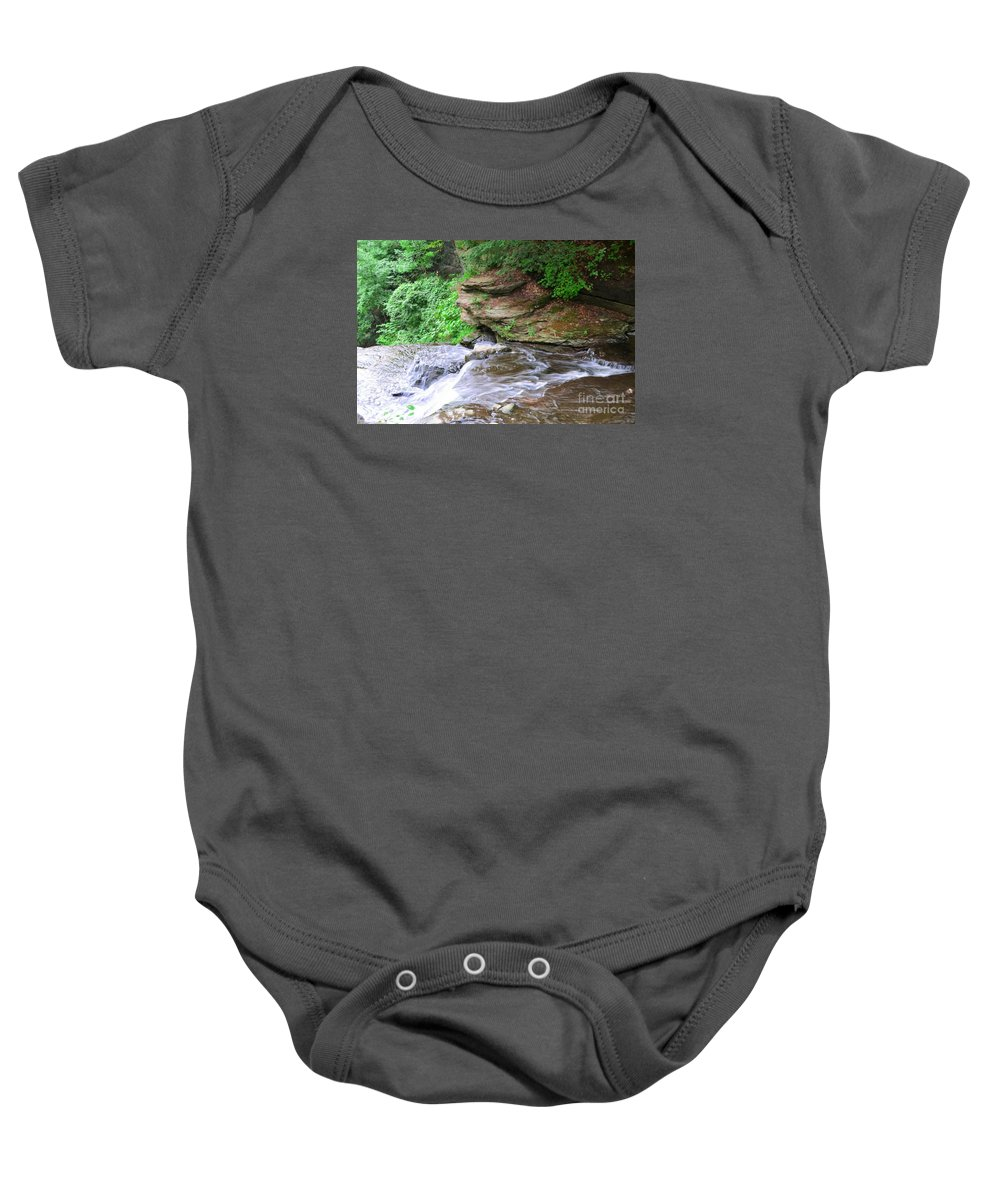 Letchworth Baby Onesie featuring the photograph Flowing Water by Kathleen Struckle