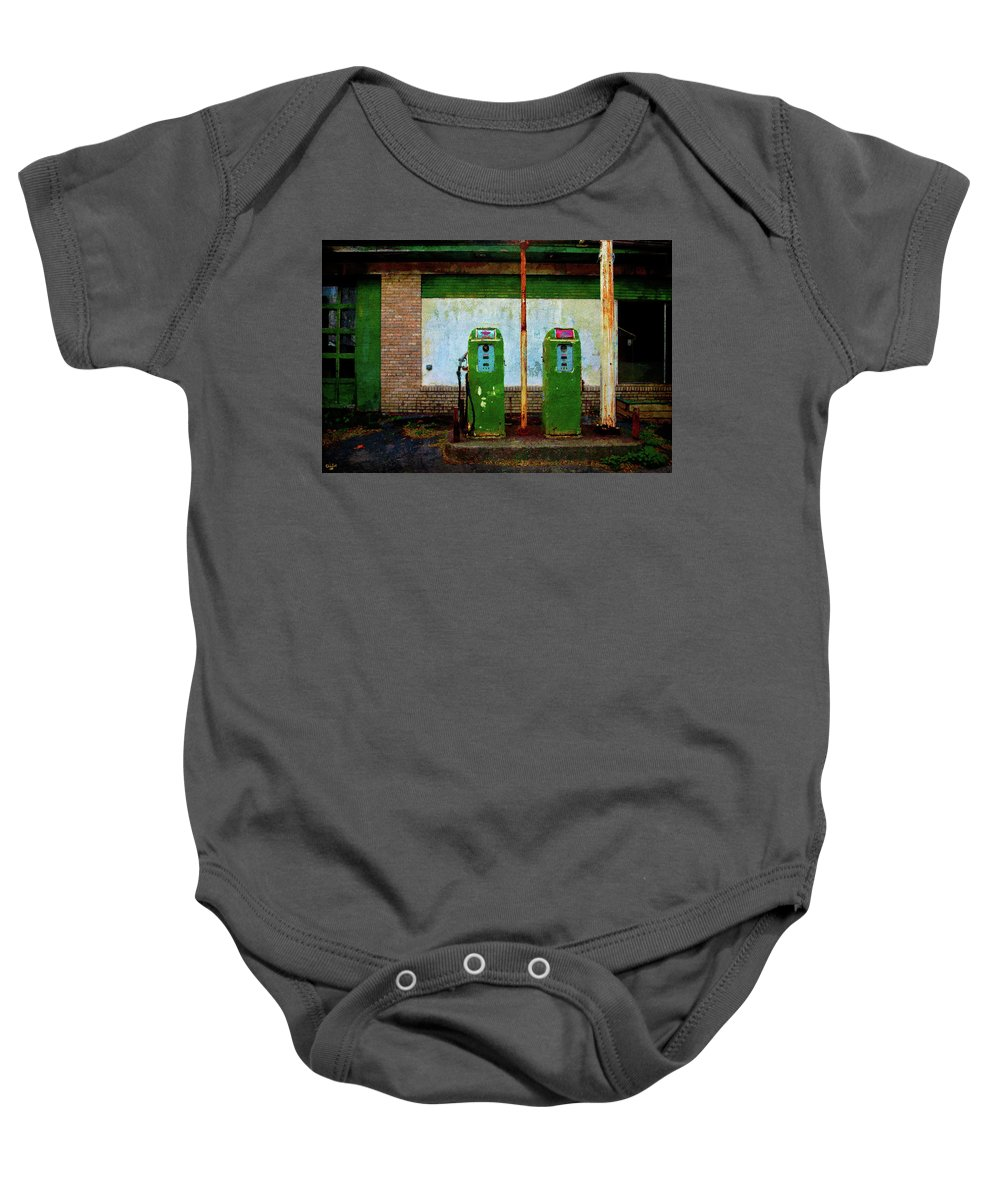 Flying A Gasoline Baby Onesie featuring the photograph Flying A Gas Station by Chris Lord