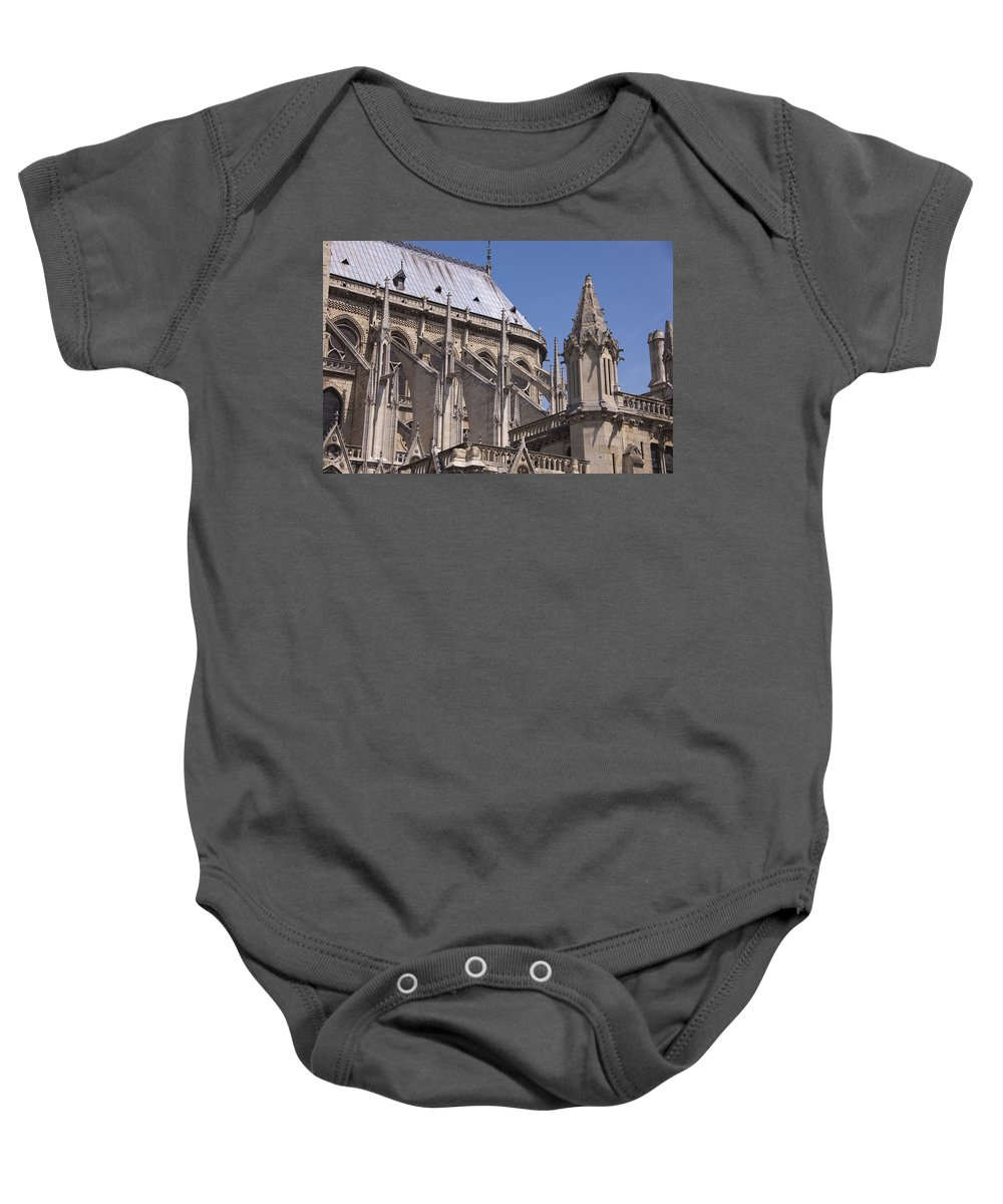 France Baby Onesie featuring the photograph Flying Buttress At Nortre Dame Cathedral by Jon Berghoff