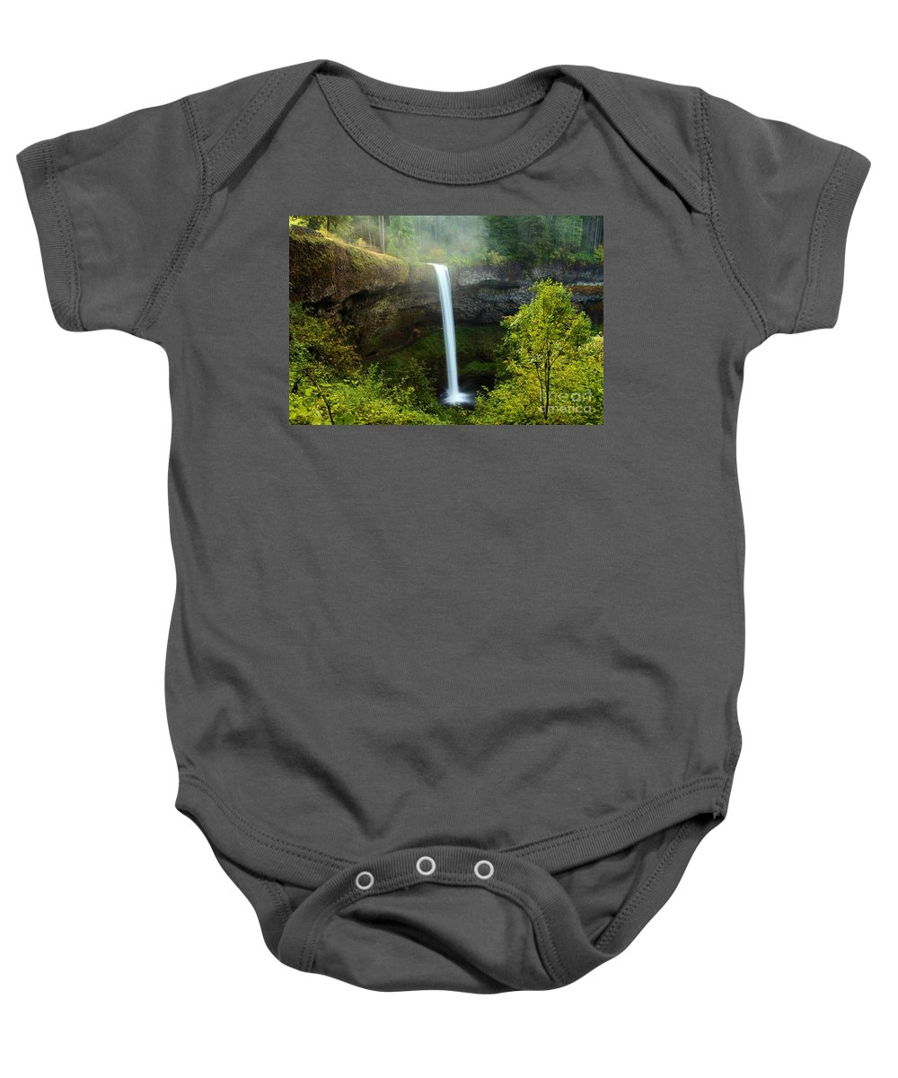 Silver Falls State Park Baby Onesie featuring the photograph Fog Over The Falls by Adam Jewell