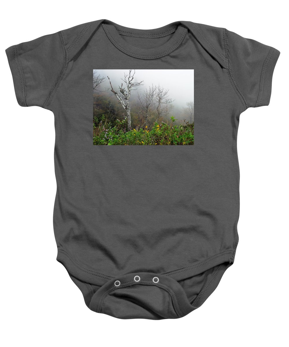 Foggy Baby Onesie featuring the photograph Foggy Day On The Blueridge by Duane McCullough
