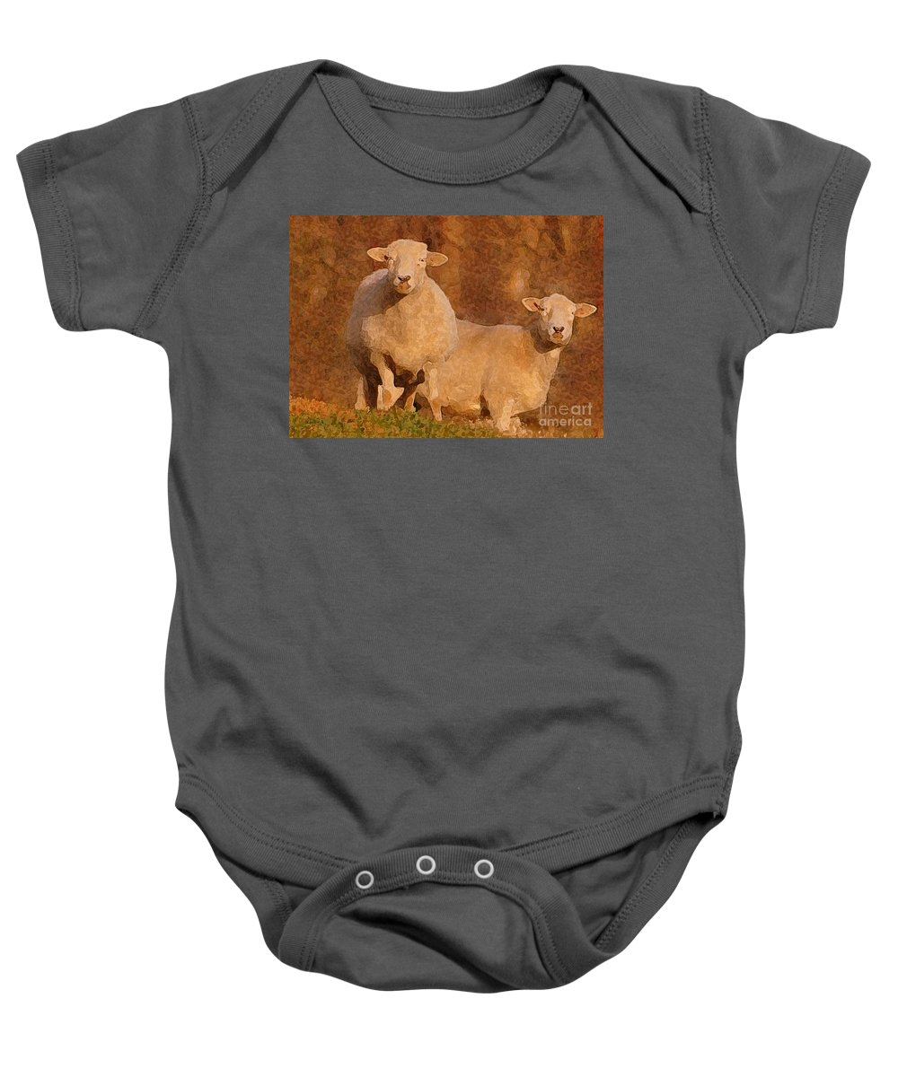Sheep Baby Onesie featuring the mixed media Follow by Lydia Holly
