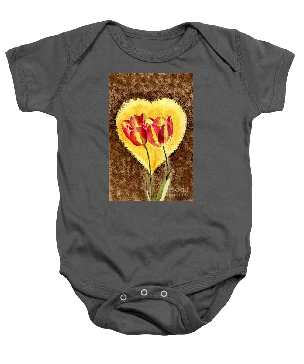 Valentine Card Baby Onesie featuring the painting From Tulip With Love by Melly Terpening