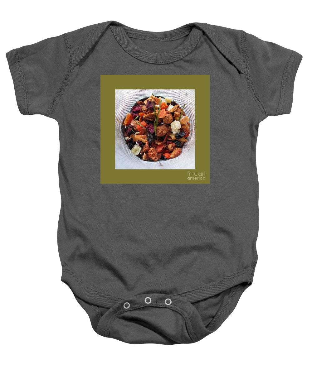 Still Life Baby Onesie featuring the photograph Fruity Tea With Bamboo Leaves Square by Ausra Huntington nee Paulauskaite