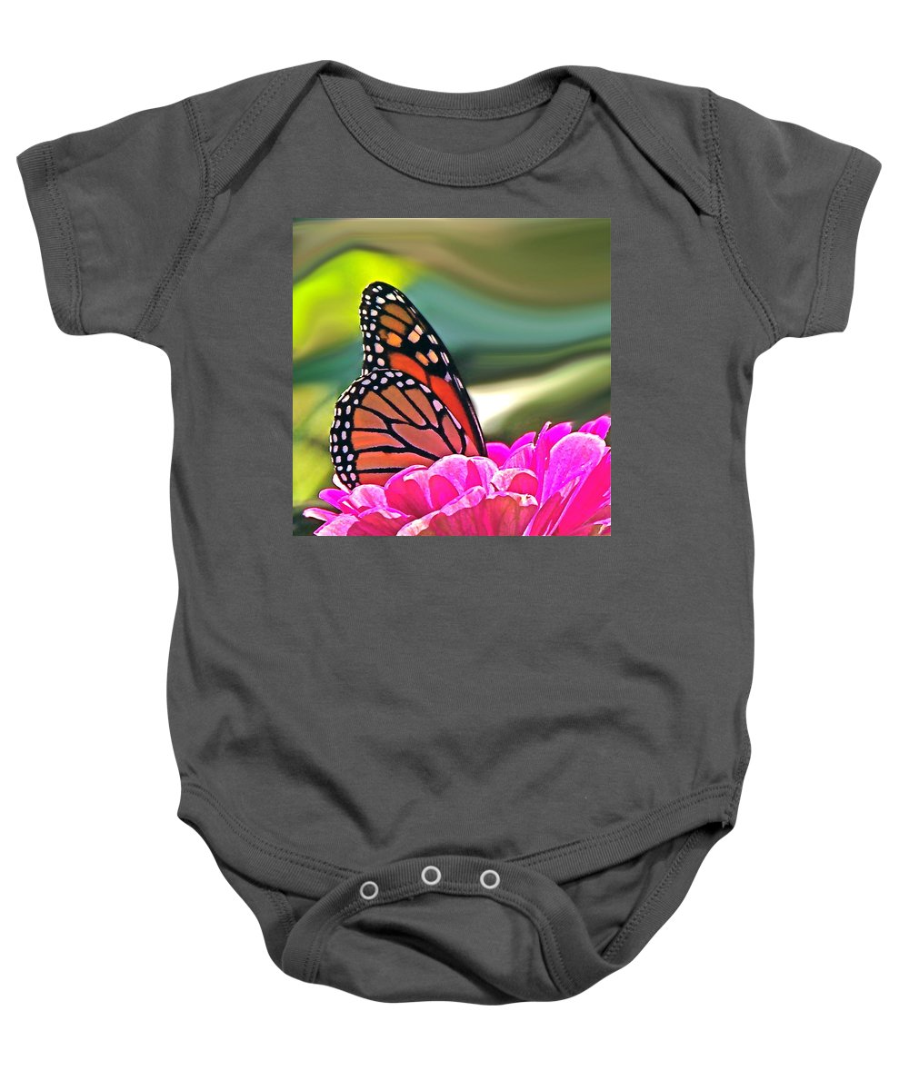 Nature Abstract Baby Onesie featuring the photograph Fueling Up To Ride The Wind by Byron Varvarigos