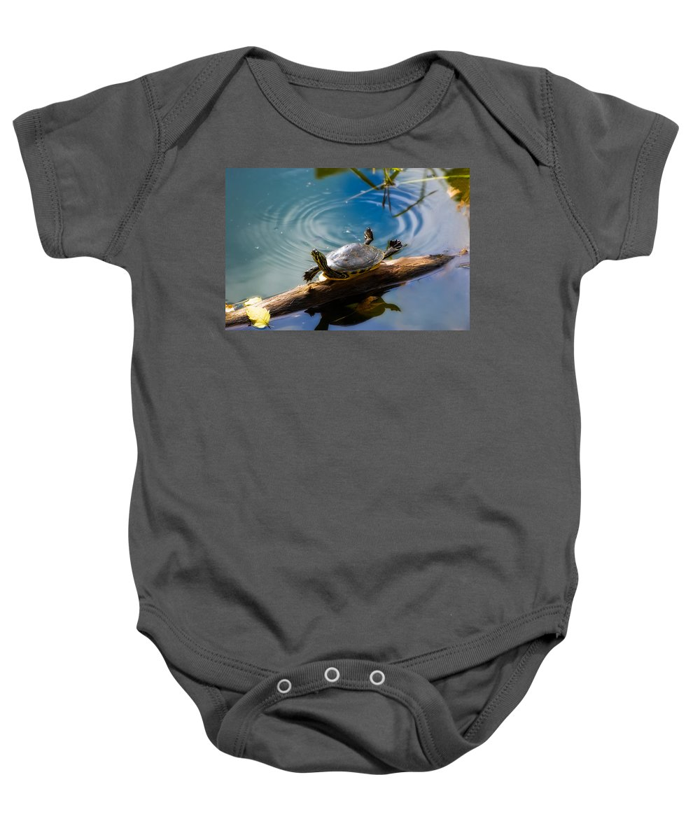 America Baby Onesie featuring the photograph Funny Turtle Catching Some Rays by Rich Leighton