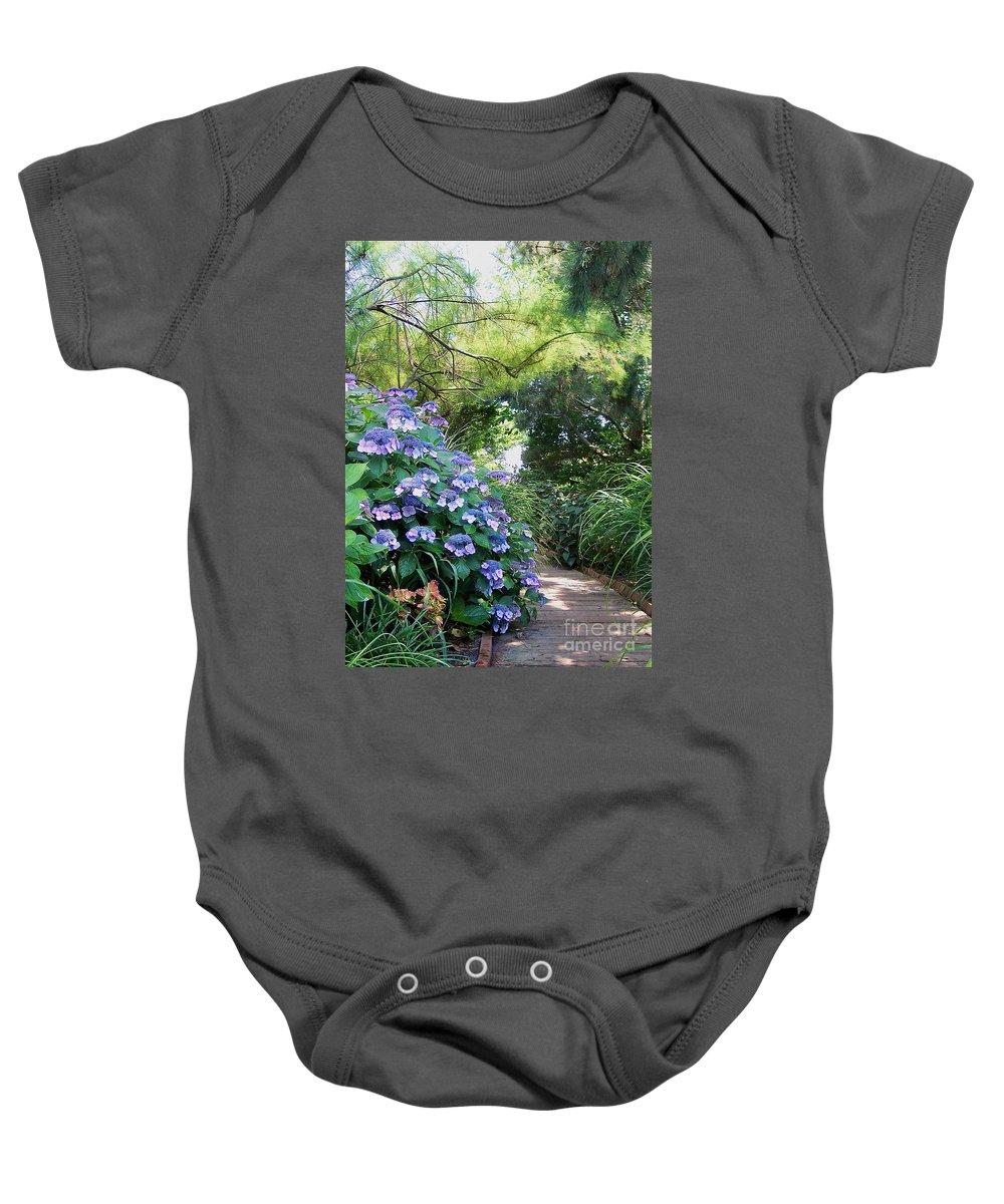 Garden Path Baby Onesie featuring the photograph Garden Path by Nancy Patterson