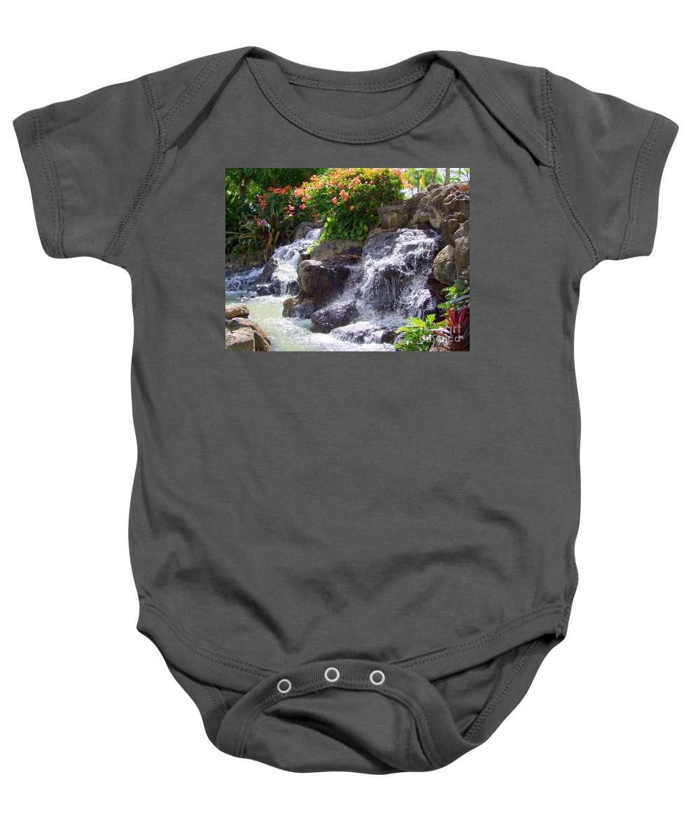 Waterfall Baby Onesie featuring the photograph Garden Waterfall - No 2 by Mary Deal