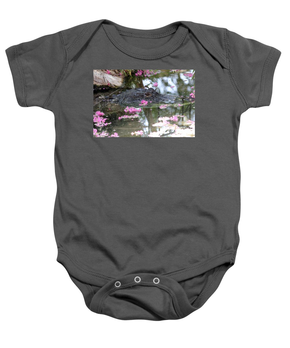 Eye Baby Onesie featuring the photograph Gator Among Crape Myrtle by Alycia Christine