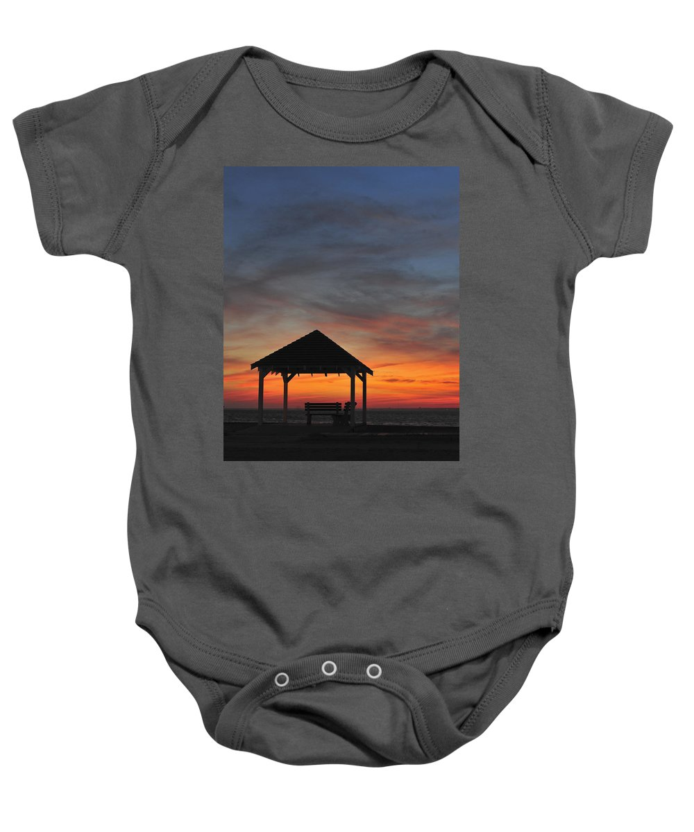 Terry D Photography Baby Onesie featuring the photograph Gazebo At Sunset Seaside Park, Nj by Terry DeLuco