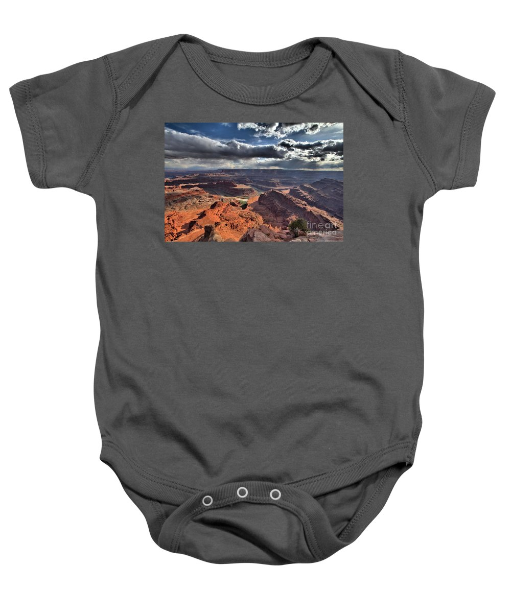 Dead Horse Point Baby Onesie featuring the photograph Gazing Into The Sky by Adam Jewell