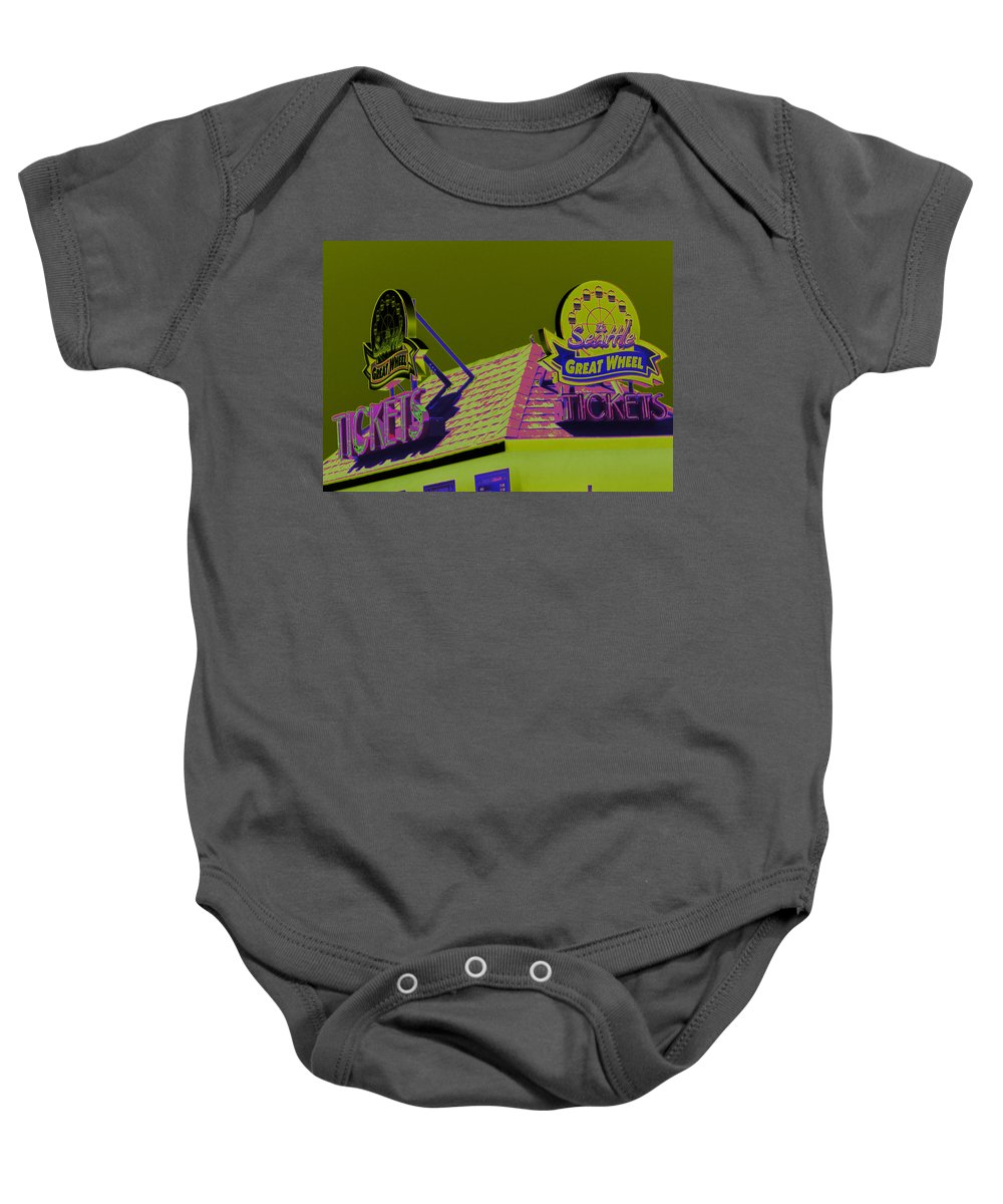 Seattle Great Wheel Baby Onesie featuring the photograph Get Your Tickets People by Kym Backland