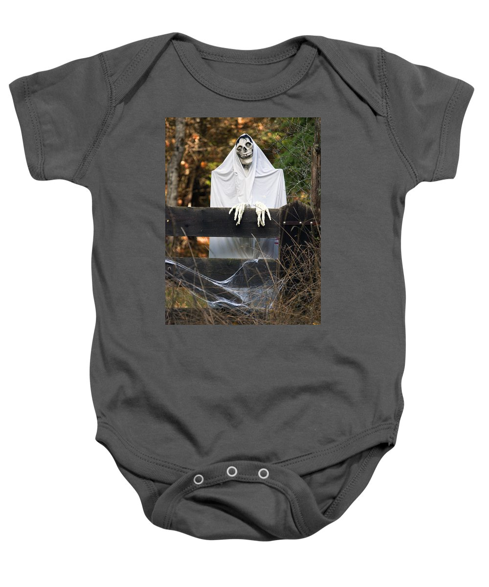 Halloween Baby Onesie featuring the photograph Ghost At The Gate by Derek Holzapfel