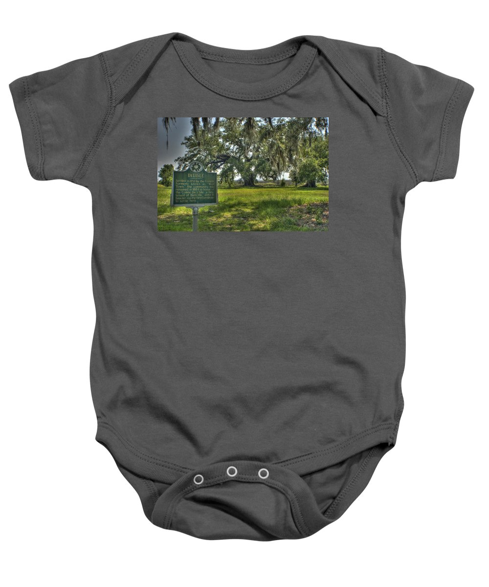 Delisle Baby Onesie featuring the photograph Ghosts Of Delisle by Beth Gates-Sully