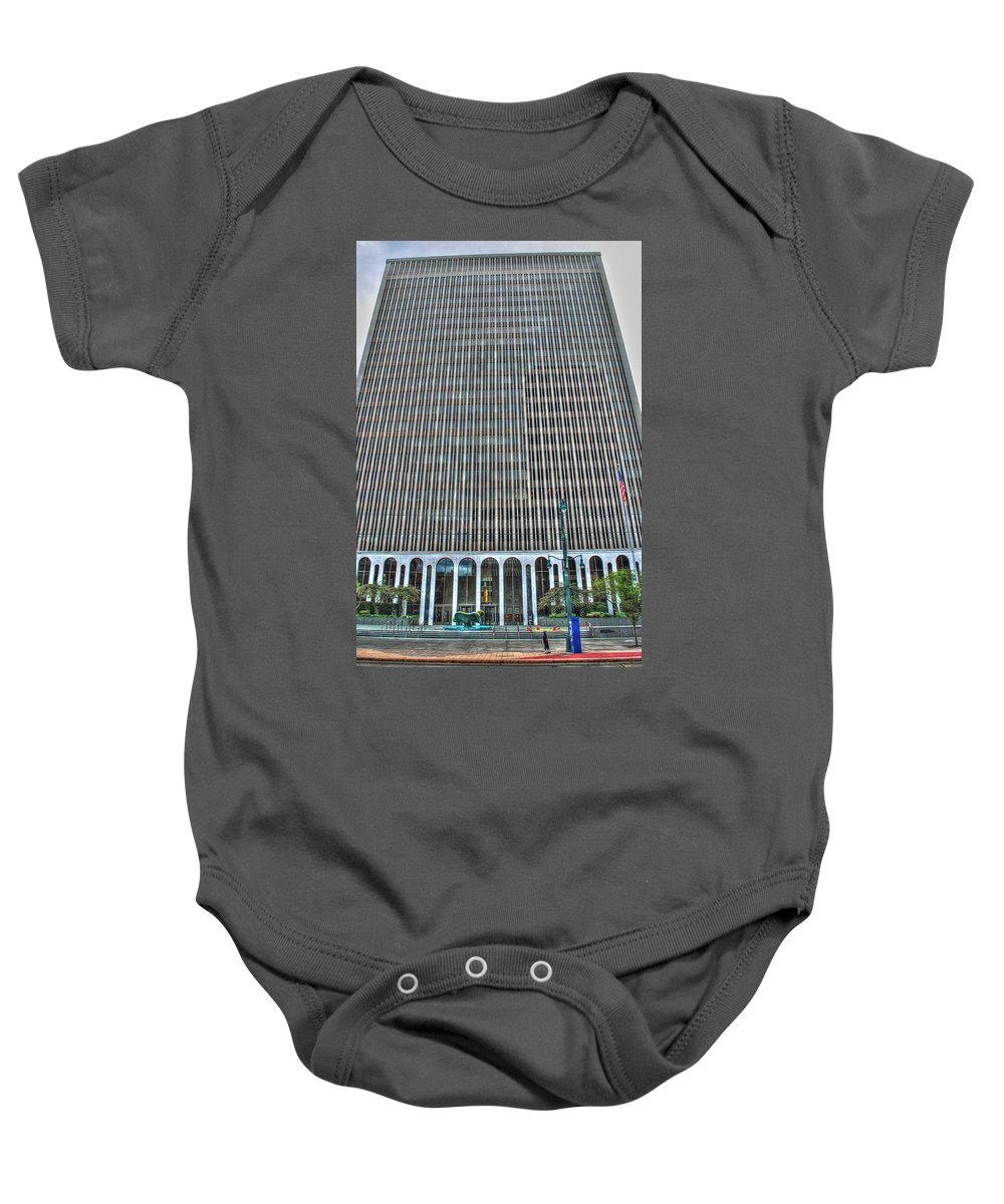 Baby Onesie featuring the photograph Giant Bank Of M And T by Michael Frank Jr