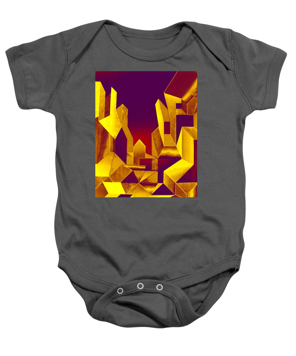 Australian Baby Onesie featuring the painting Gilded City by Giro Tavitian