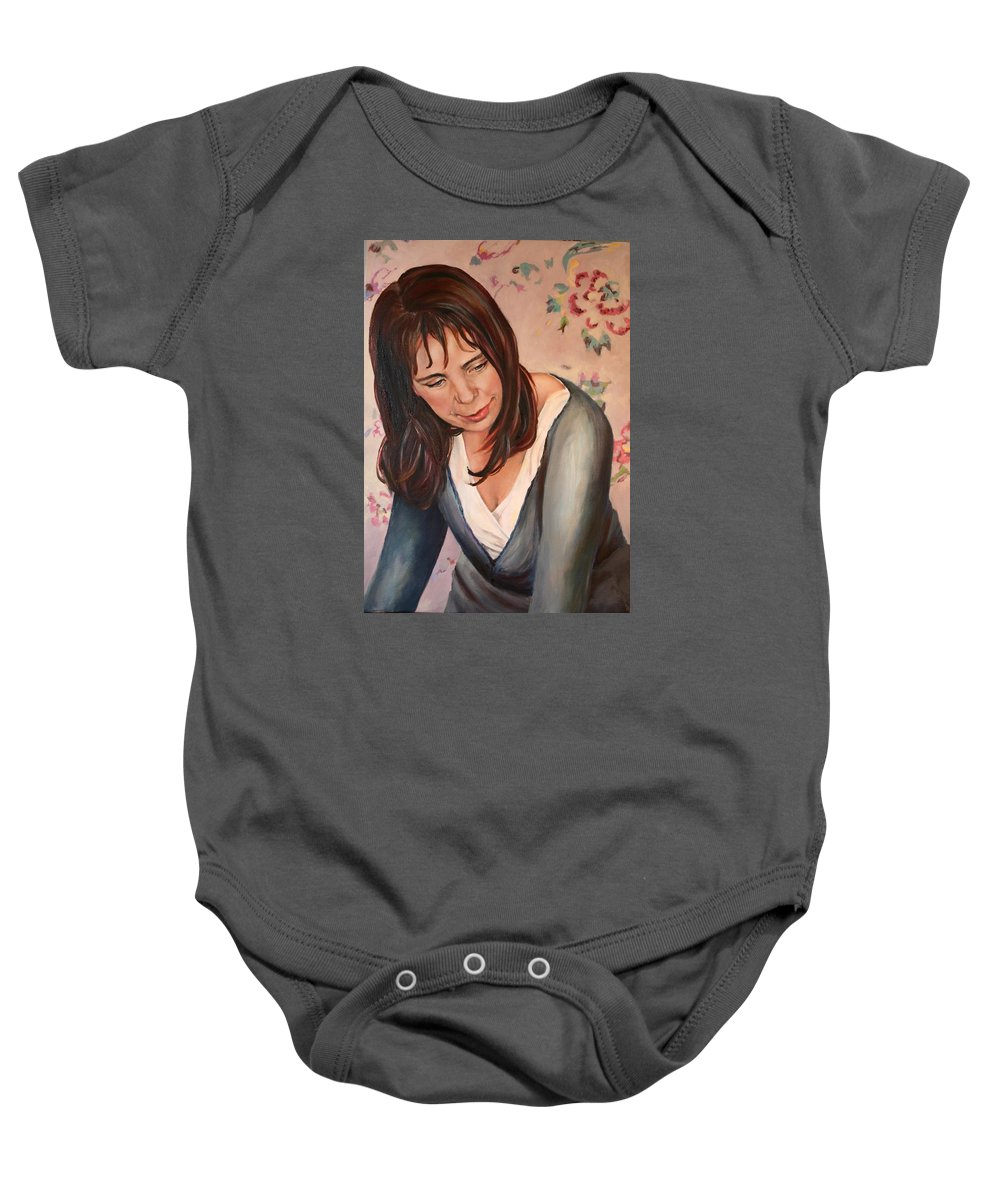 Portrait Baby Onesie featuring the painting Gillian by Jolante Hesse