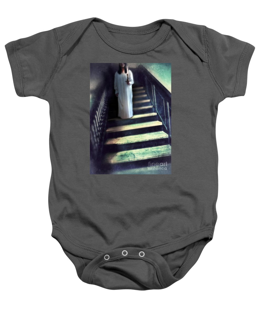 Woman Baby Onesie featuring the photograph Girl In Nightgown On Steps by Jill Battaglia