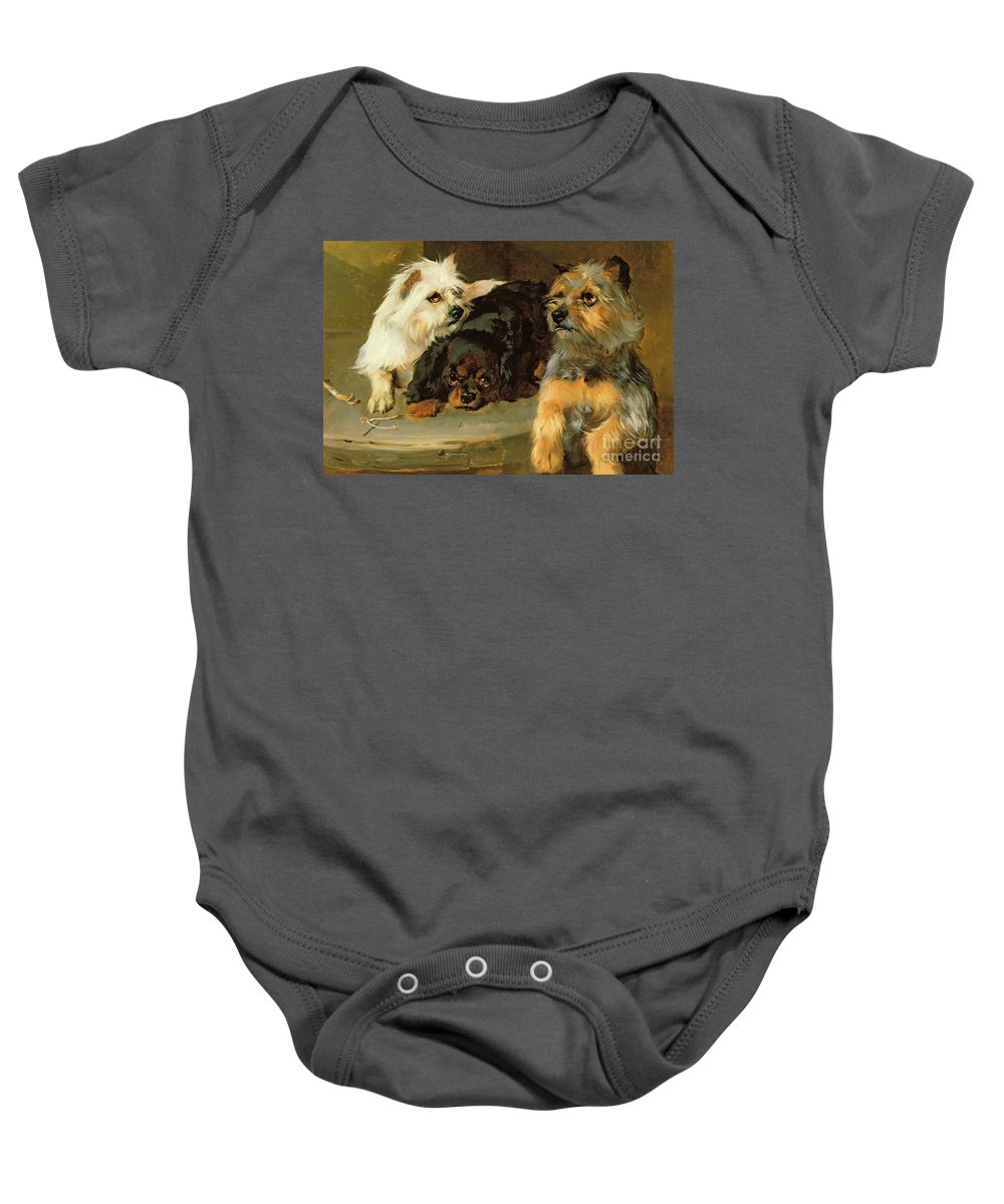 Give A Poor Dog A Bone Baby Onesie featuring the painting Give A Poor Dog A Bone by George Wiliam Horlor