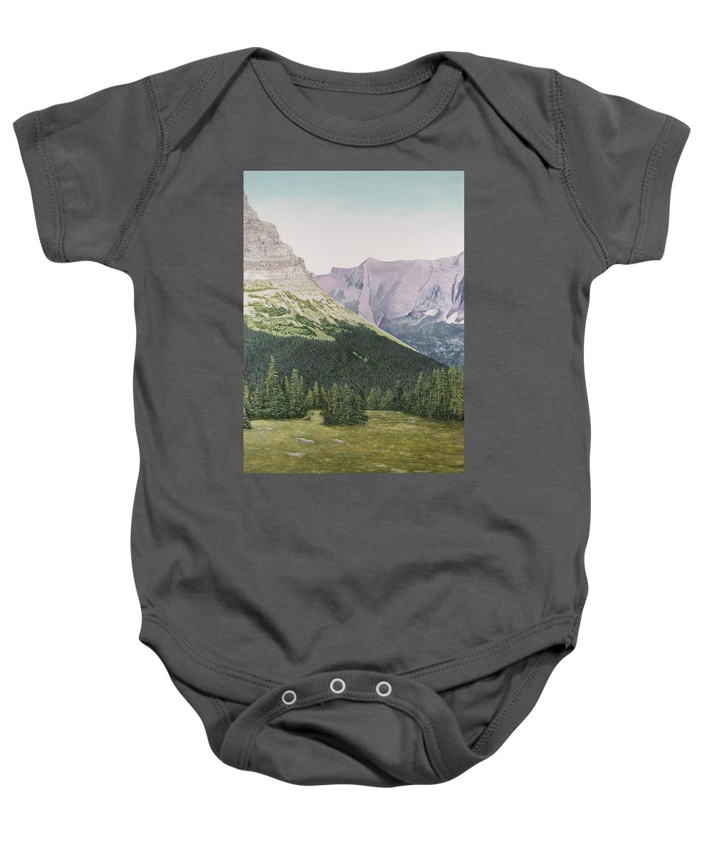 Glacier National Park Paintings Baby Onesie featuring the painting Glacier National Park Montana by Mary Ann King