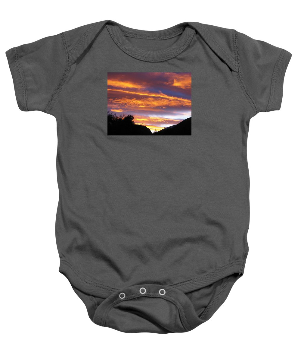 Sunset Baby Onesie featuring the photograph Purple Dusk by Andonis Katanos