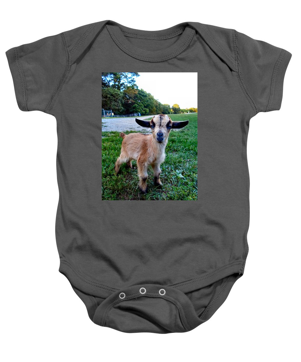 Baby Baby Onesie featuring the photograph Goatee by Art Dingo