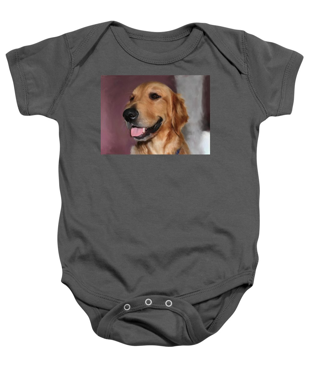 Dog Baby Onesie featuring the painting Golden Retriever by Snake Jagger