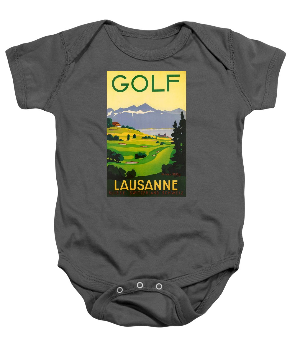 Golf Baby Onesie featuring the digital art Golfing In Lausanne by Georgia Fowler