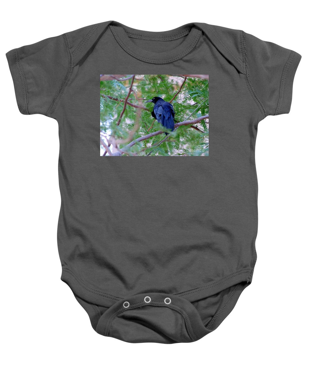 Grackles Baby Onesie featuring the photograph Grackle On A Branch by Mary Deal