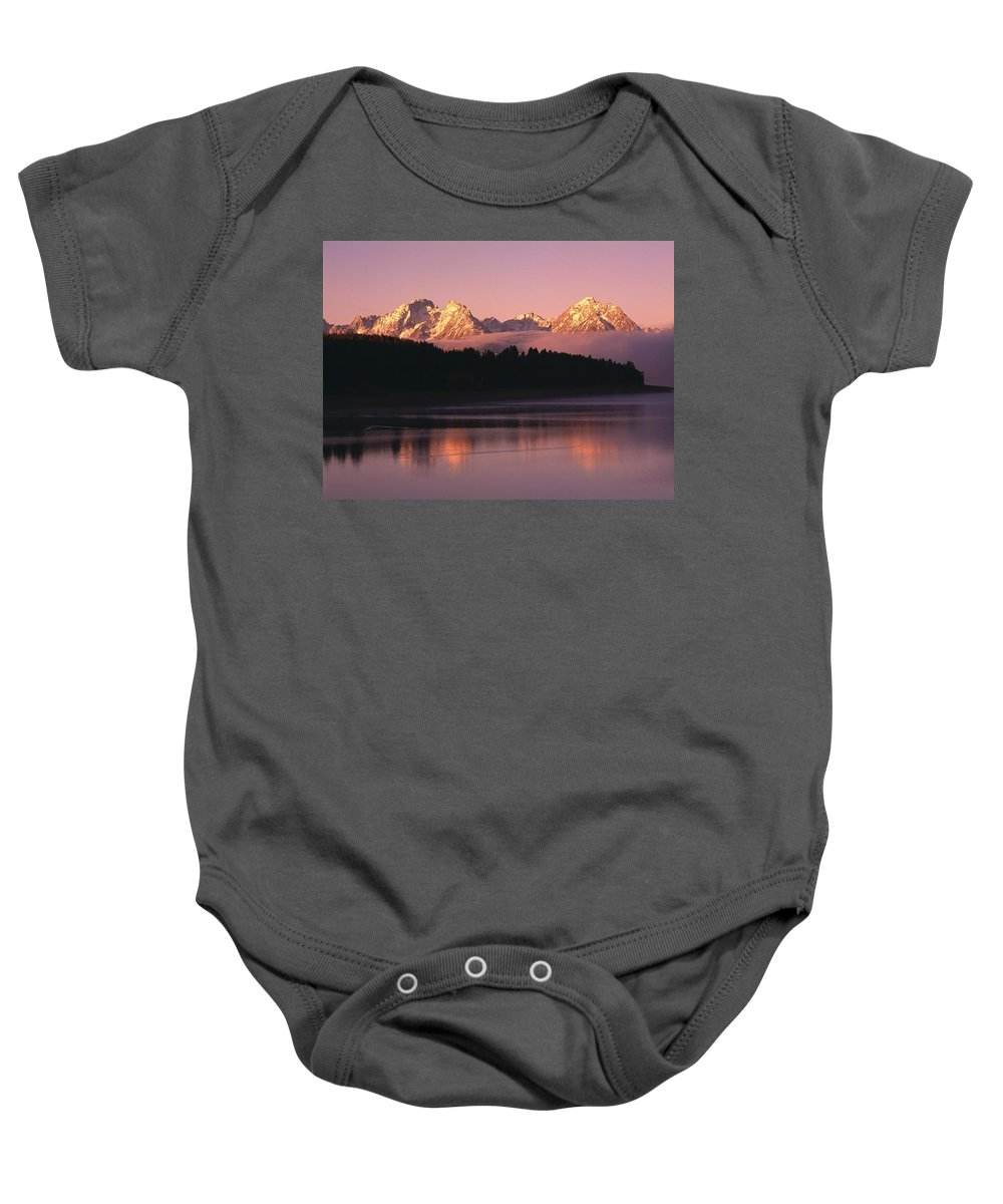 Outdoors Baby Onesie featuring the photograph Grand Teton Mountains With Silhouetted by Natural Selection David Ponton
