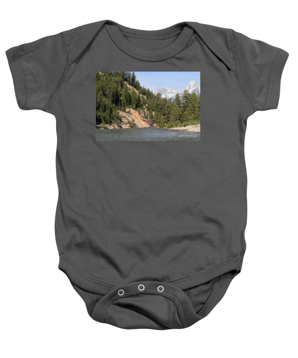 Grand Tetons Baby Onesie featuring the photograph Grand Tetons From Snake River by Living Color Photography Lorraine Lynch