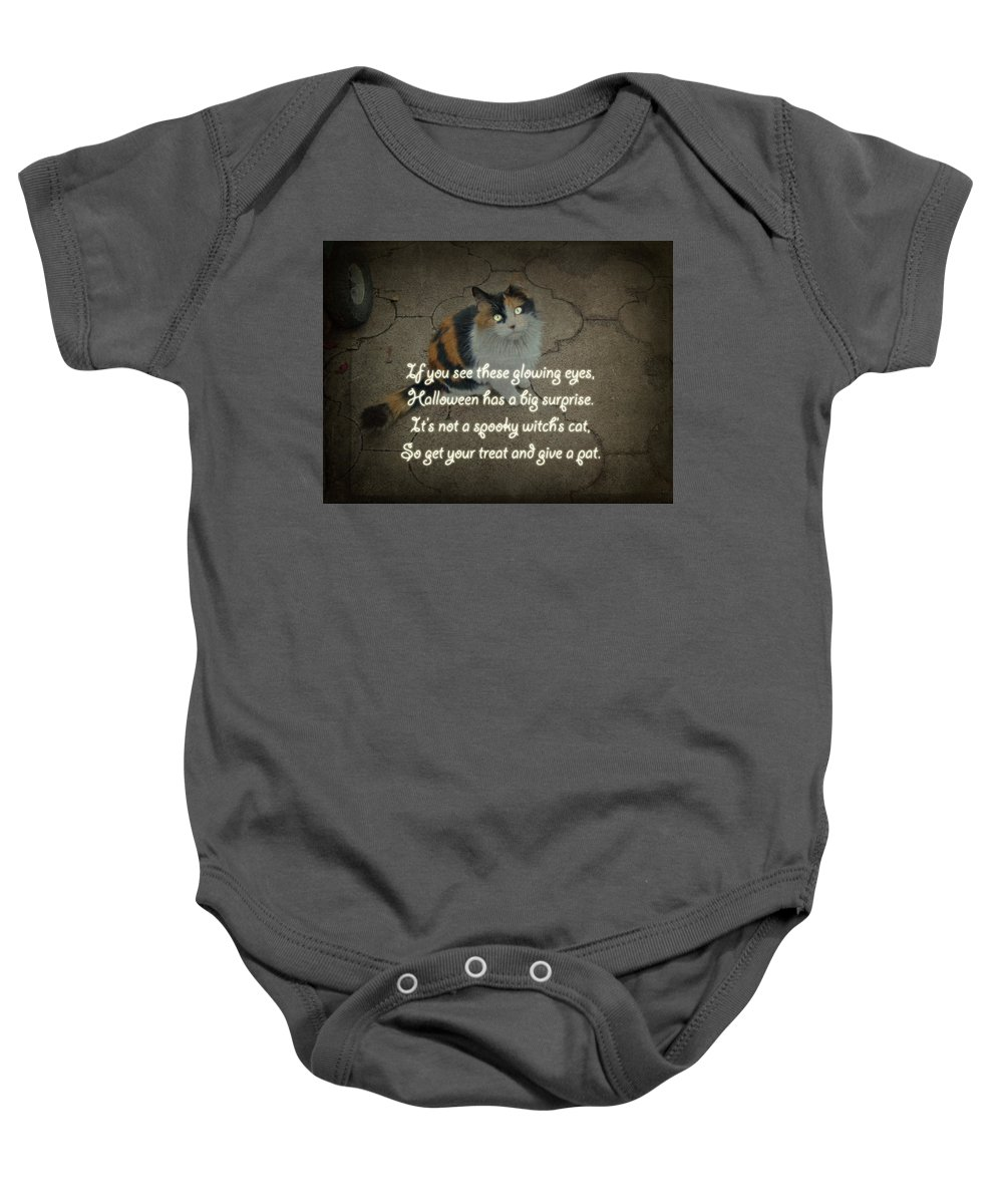 Halloween Baby Onesie featuring the photograph Halloween Calico Cat And Poem Greeting Card by Mother Nature