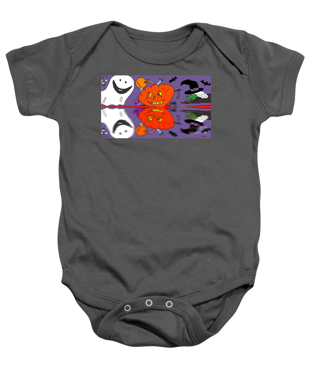 Halloween Baby Onesie featuring the painting Halloween Reflections by George Pedro