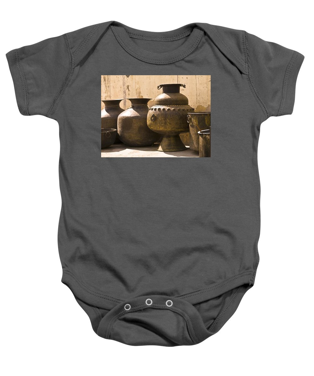 Artwork Baby Onesie featuring the photograph Hand Crafted Jugs, Jaipur, India by Keith Levit