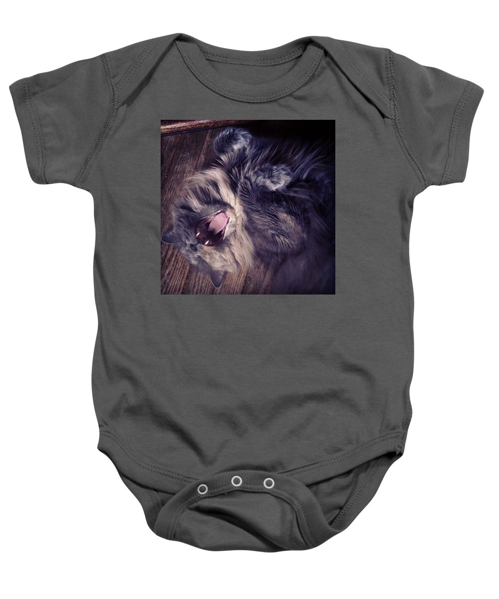 Fangs Baby Onesie featuring the photograph Has #fangs. Not Afraid To Use 'em by Katie Cupcakes